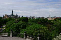 View of Stockholm from the Skansen. View of Stockholm from the island of Skansen Royalty Free Stock Photos