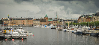 a view of Stockholm, Sweden from the Baltic sea stock photography