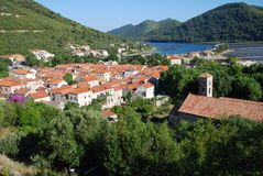 View at Ston town, Croatia. View at Ston town from the walls of Ston, Croatia Royalty Free Stock Images