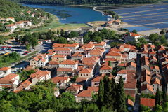 View at Ston town, Croatia. View at Ston town from the walls of Ston, Croatia Royalty Free Stock Image
