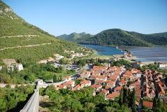View at Ston town in Croatia. View at Ston town, European wall of China, Mediterranean bay, and salt pans on the peninsula of Peljesac, Dalmatia, Croatia Royalty Free Stock Photo