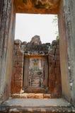 View through stone door. At temple of Angkor Wat Royalty Free Stock Photo