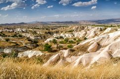 View on stone formations in Cappadocia, Central Anatolia,Turkey royalty free stock photography