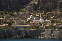View of stone houses at Medieval fortress Stock Images