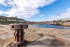 Tate Hill with St Mary`s Church, Whitby, North Yorkshire, England royalty free stock photo