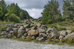 View of stone river big granite stones on rocky river from a distance in  Vitosha national park mountain Royalty Free Stock Photos