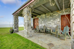 View of stone spacious open porch Royalty Free Stock Image