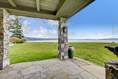 View of stone spacious open porch Stock Images