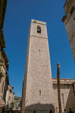 View of stone steeple tower next to church in Saint-Paul-de-Vence. royalty free stock photography