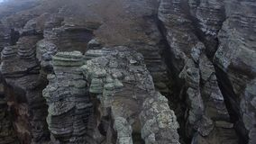 A view of the stone surface of the rock covered with moss. Andreev. stock video