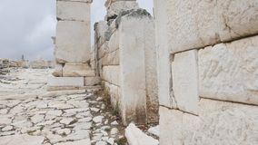 Gateway arches in archaeological site of Sagalassos in Turkey,. View of stone wall and gateway arches in the archaeological site of Sagalassos, best-preserved stock footage