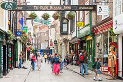 A view of the Stonegate street in York, England Royalty Free Stock Images