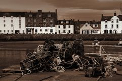 A view of Stonehouse from the harbour wall. stock images
