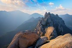View from Ulsanbawi rock peak on sunset. Seoraksan National Park, South Corea stock photos