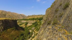 View of stony basalt rocks and deep gorge, Armenia landscape, ecotourism. Stock footage stock video footage