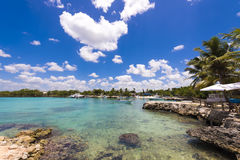 View of the stony shore in Bayahibe, La Altagracia, Dominican Republic. Copy space for text. View of the stony shore in Bayahibe, La Altagracia, Dominican royalty free stock photo