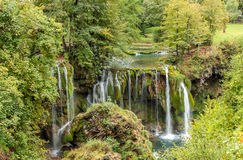 View of stony waterfall and small river Stock Photo