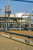 View of storage tanks at a refinery Royalty Free Stock Photos