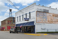View of a store and the fire station in the downtown of the city of Lockhart in Texas, USA. Lockhart, Texas - June 6, 2014: View of a store and the fire station stock images