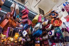 Colorful store with traditional souvenirs in Tunis, Tunisia royalty free stock photos
