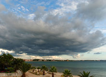 View of storm seascape. Big dark cloud, at the beach side Royalty Free Stock Images
