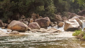 View from Stormy Cascade to Transparent River by Rocks Trees stock video