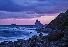 View of stormy coast during sunset Royalty Free Stock Photo
