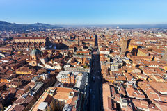 View on Strada Maggiore in Bologna stock photo