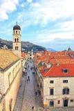 View of Stradun, main street of Dubrovnik, Croatia. Royalty Free Stock Image