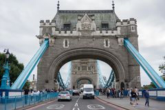 View straight along Tower Bridge in London, England royalty free stock images