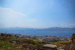 View of the Strait of Messina stock images