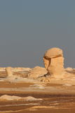 View of strange rock shapes due to erosion in White Desert close to Farafra oasis in Egypt. Stock Image