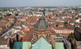 View on Strasbourg. If you climb the steps of bell tower church, you can get this large panorama of Strasbourg Royalty Free Stock Photography