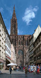 View on Strasbourg Cathedral from Rue Merciere, France Stock Photos