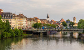 View of Strasbourg city over the Ill river, Alsace, France Royalty Free Stock Image