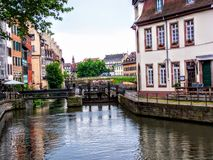 View of Strasbourg houses next to water. River Stock Photo