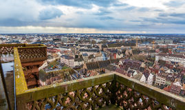 View of Strasbourg from the roof of the cathedral Royalty Free Stock Images