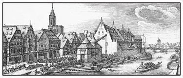 View of Strasbourg wine market in 17th century Royalty Free Stock Image