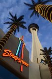 An angled view of the Stratosphere Hotel Tower from below. stock photography