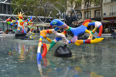 View of Stravinsky Fountain in Paris, France Royalty Free Stock Images