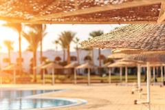 View at straw umbrellas against the swimming pool in Egypt Royalty Free Stock Photos
