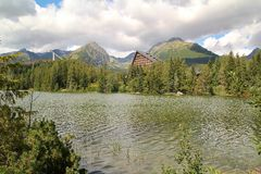 View of Strbske Pleso- Mountain lake of glacial origin in the High Tatras, Slovakia. View of Strbske Pleso- Mountain lake of glacial origin in the High Tatras Stock Image