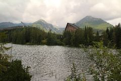 View of Strbske Pleso- Mountain lake of glacial origin  in the High Tatras, Slovakia. View of Strbske Pleso- Mountain lake of glacial origin  in the High Tatras Stock Photo