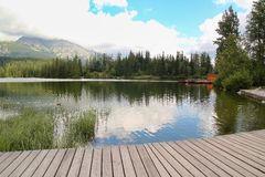 View of Strbske Pleso- Mountain lake of glacial origin in the High Tatras, Slovakia. View of Strbske Pleso- Mountain lake of glacial origin in the High Tatras Royalty Free Stock Photos