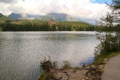 View of Strbske Pleso- Mountain lake of glacial origin  in the High Tatras, Slovakia. View of Strbske Pleso- Mountain lake of glacial origin  in the High Tatras Royalty Free Stock Images