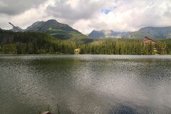 View of Strbske Pleso- Mountain lake of glacial origin in the High Tatras, Slovakia. View of Strbske Pleso- Mountain lake of glacial origin in the High Tatras Stock Photos