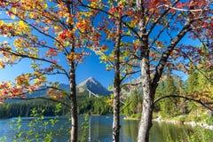 Autumn at Strbske tarn, High Tatras mountains, Slovakia. View of Strbske tarn Strbske pleso in local language in High Tatras mountains in autumn, Slovakia Stock Photography