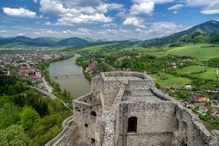 View from Strecno castle, Slovakia. View from tower of medieval castle Strecno, Slovakia royalty free stock photos