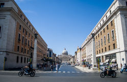 View from streef of St. Peter's Basilica in Vatican City Stock Photo