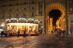 View of street. Night view of street of Florence, Italy Stock Image